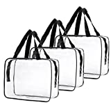 WODISON 3pcs Clear Makeup Cosmetic Bag Travel Toiletry Bag Organizer Carrying Case for Summer Black-Large