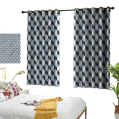 G Idle Sky Bedroom Windproof Curtain Retro Mildew-Proof Polyester Fabric Cubes Squares 3D Style 63