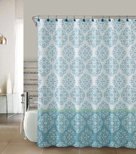 Amazon.com: Blue White Damask Bathroom Fabric Shower Curtain: Home ...