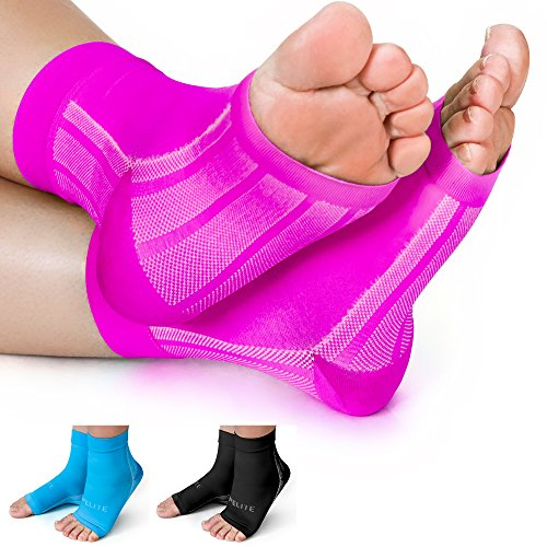 Plantar Fasciitis Compression Socks/Ankle Brace by 1st Elite-Pain Relief in Heels Foot Arch Achilles Tendon Support Night Splint Foot Sleeve for Women Men, Pink, Medium - First Planters