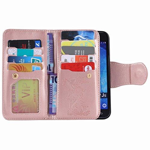 Yiizy Samsung Galaxy J5 J500 Funda, Chica Repujado Diseño Solapa Flip Billetera Carcasa Tapa Estuches Premium PU Cuero Cover Cáscara Bumper Protector Slim Piel Shell Case Stand Ranura para Tarjetas Es