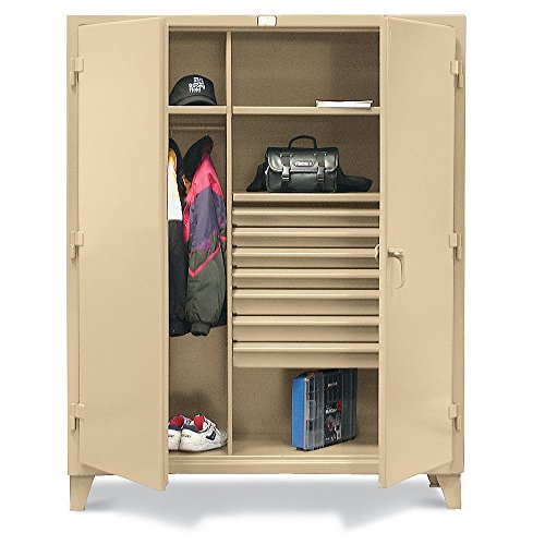 "Strong Hold Combination Wardrobe Cabinet With Drawers - 60""Wx24""Dx78""H - 7 Drawers - Tan - Tan"