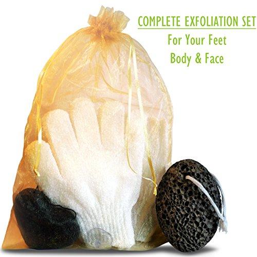 Zen Me Premium Pumice Stone - Exfoliation Set with 1 Lava Foot Scrubber - 2 Pairs Exfoliating Gloves - Konjac Sponge Face Exfoliator - Natural Callus Remover, Pedicure Tools, Foot File