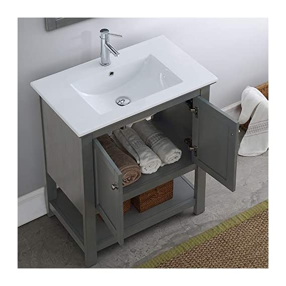 """Fresca Manchester 30"""" Gray Traditional Bathroom Vanity - Dimensions of Vanity: 29.5""""W x 18""""D x 34""""H Vanity Materials: Solid Wood Frame with MDF Panels Countertop/Sink Materials: Integrated Ceramic Sink - bathroom-vanities, bathroom-fixtures-hardware, bathroom - 51A3I36WacL. SS570  -"""