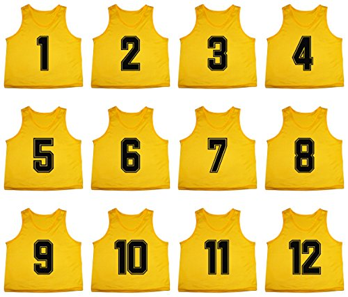 Oso Athletics Set of 12 Premium Mesh Numbered Scrimmage Vest Pinnies Team Practice Jerseys for Children, Youth, and Adult Sports Basketball, Soccer, Football, Lacrosse (Yellow (#1-12), (Football Scrimmage Vests)