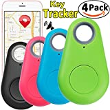 (US) 4 Pack Smart Key Finder GPS Tracker Bluetooth Locator Wireless Anti Lost Alarm Sensor Device for Kids Dogs Car Wallet Pets Cats Motorcycles Luggage Remote Camera Smart Phone iOS Android by JingStyle