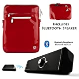 RED Luxury Non-Scratch Extra Padded Material with Soft Suede Lining and Reinforced Patent Leather Walls, Design Slim Compact Protective with Accessories Compartment For HP SlateBook X2 Tablet 10.1 inch Android 4.2 (Jelly Bean) Tab + Supertooth Disco Bluet