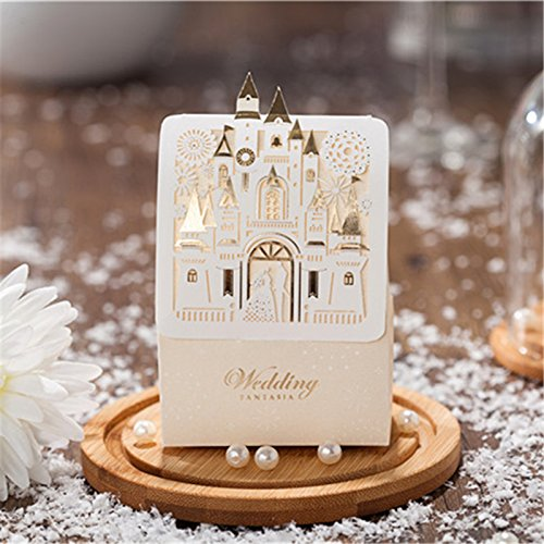 Saasiiyo 20 Pieces/lot Sweet Castle Favors and Gift Suggestions Wedding Decoration Laser-cut Originality Paper Chocolate Box For Guests Event&Party Supplies