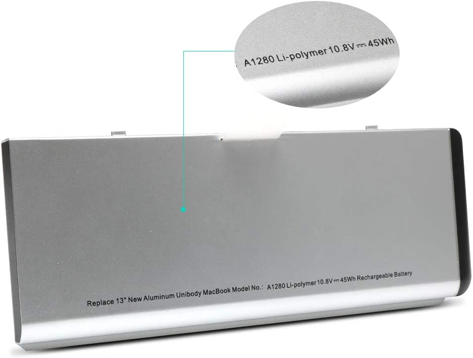 New Upgrade A1280 Laptop Battery for Apple MacBook 13 Inch A1280 A1278 (2008 Version) Compatible for MB771G/A MB466LL/A MB467LL/A -10.8V45WH