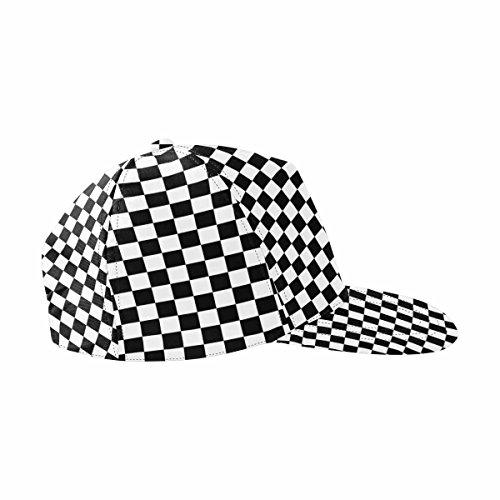 InterestPrint Black and White Checkered Background Snapback Hat Hip Hop Baseball Cap