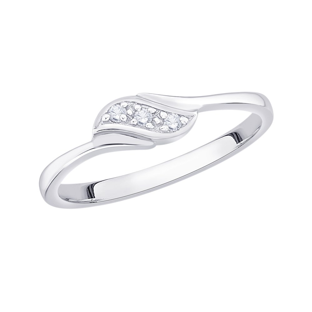 3 Diamond Promise Ring in 14K White Gold Size-8.75 G-H,I2-I3 1//20 cttw,