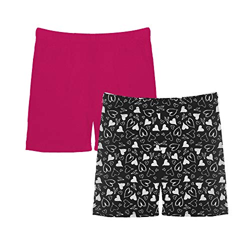 Popular Girl's Solid and Print Active Bike Shorts - 2 Pack - Hearts and Solid Hot Pink - - Active Bike Top