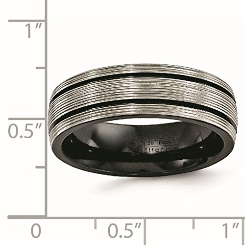 Titanium Black Ti Grooves & Textured Lines Polished 7mm Wedding Ring Band Size 8.5 by Edward Mirell by Venture Edward Mirell Titanium Bands (Image #5)