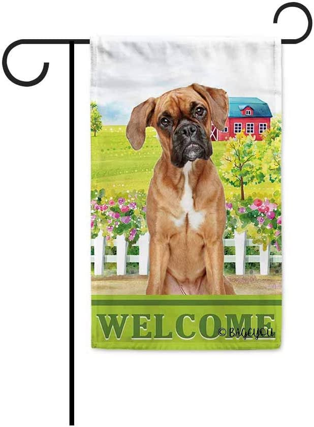 BAGEYOU Welcome A Lovely Dog Boxer in The Country Garden Flag for Outside Beautiful Rustic Rural Landscape Red House Flowers Home Decor Banner 12.5 X 18 Inch Print Double Sided