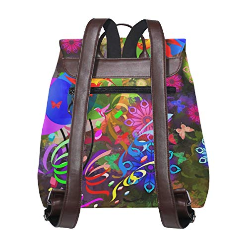 Abstrakt fågel ballonger blommor ryggsäck handväska mode PU-läder ryggsäck ledig ryggsäck för kvinnor