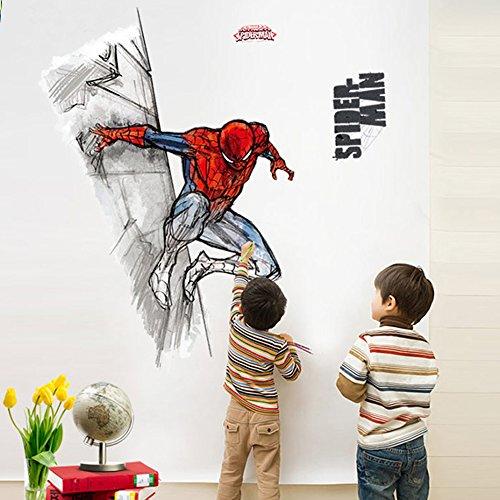 Fangeplus(TM) 3D Spider Man Marvel Comics DIY Removable Art Mural Vinyl Waterproof Wall Stickers Kids Room Decor Nursery Decal Sticker Wallpaper 37.7''x22.4''