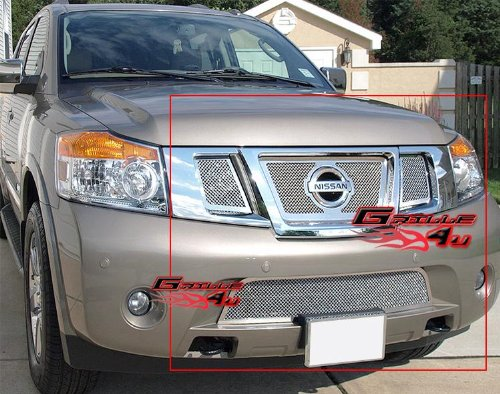 Fits 2008-2013 Nissan Armada Stainless Steel Mesh Grille Grill Logoshow Combo # N77779T (Chrome Stainless Steel Mesh Grille)