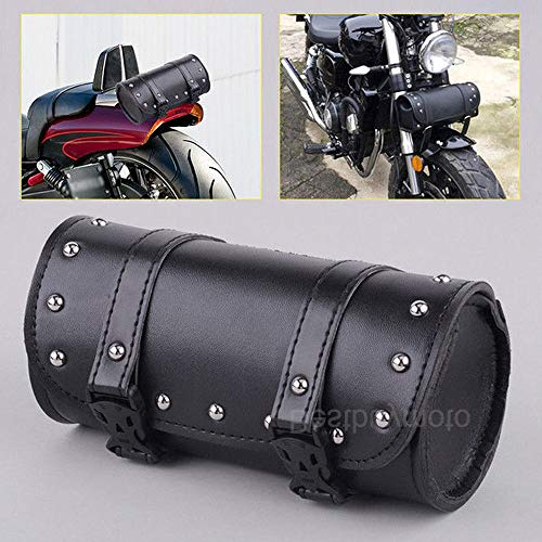 Motorcycle Handlebar Sissy Bar Saddlebag Roll Barrel Tool Bag Artificial Leather Saddlebags for Harley Honda - Barrel Motorcycle Leather Bag