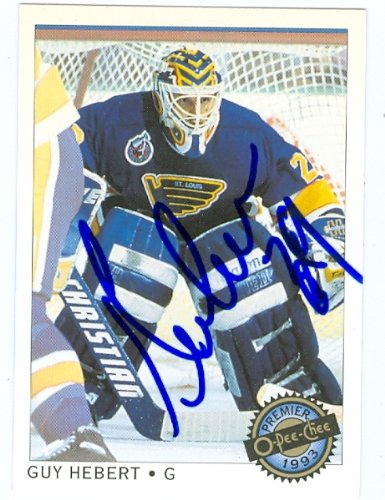 Guy Hebert autographed Hockey Card (St. Louis Blues) 1993 O-Pee-Chee #40