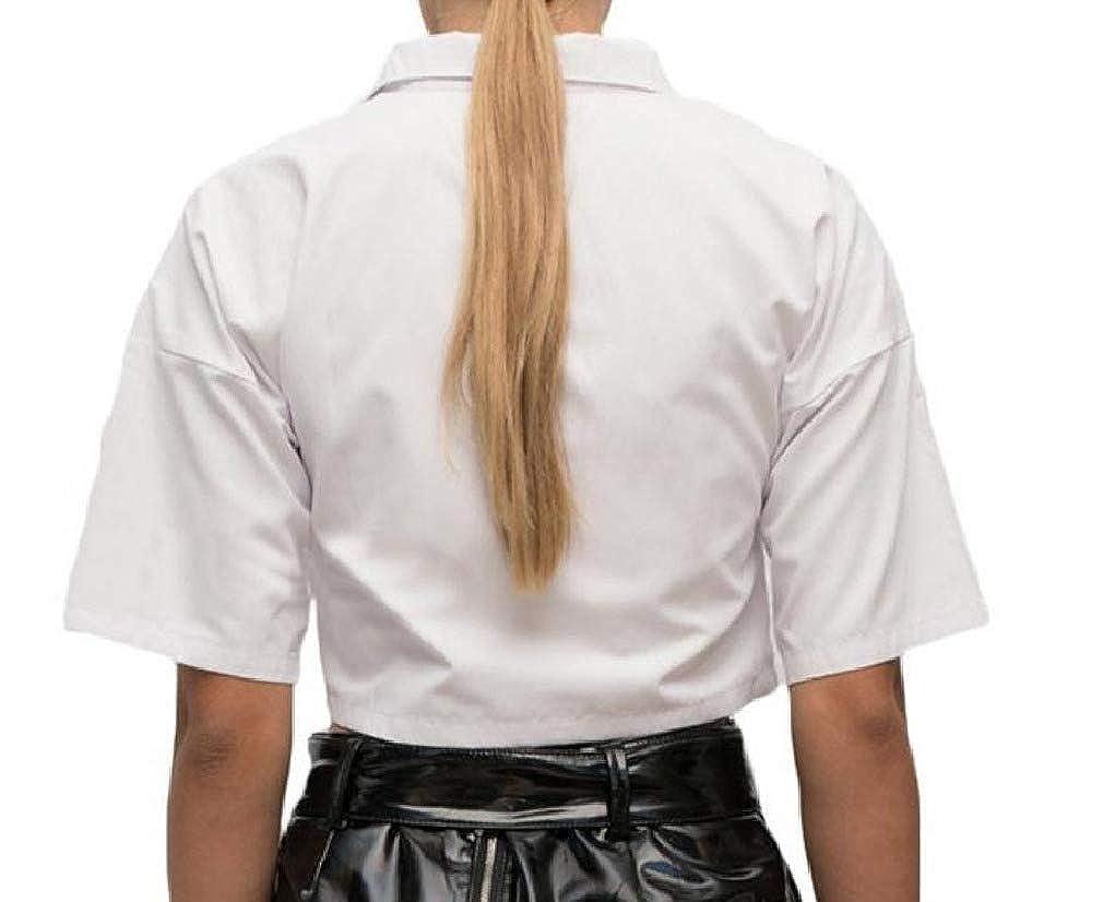 Vska Womens Crop Cotton Short Sleeve Button Trim-Fit Solid-Colored T-Shirts