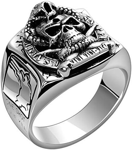 Beydodo 925 Silber Männer Ring Punk Rock Soldat Totenkopf Schlange Freundschaftsring Ring Silber