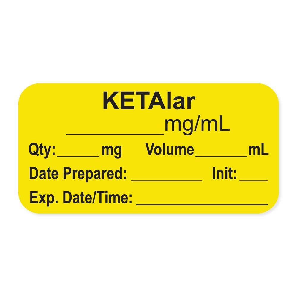 PDC Healthcare LAN-2-59 Anesthesia Label with Exp. Date, Time, and Initial, Paper, Permanent, ''KETAlar mg/mL'', 1'' Core, 1-1/2'' x 3/4'', 500 per Roll, Yellow (Pack of 500)