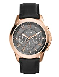 Fossil Men's FS5085 Grant Chronograph Leather Watch-Black