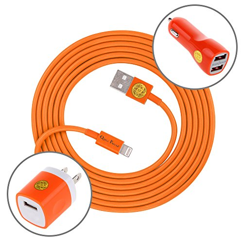 6Ft Heavy Duty 8-Pin Cable w/ Wall & Dual Port Car Adapters for iPhone 6S/6Plus -Orange