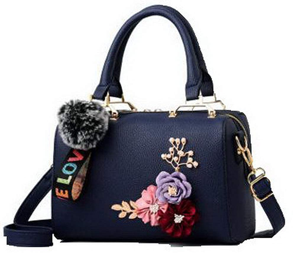 Darkbluee WeiPoot Women's Crossbody Bags Flowers Party Dacron Tote Bags, EGHBG181750