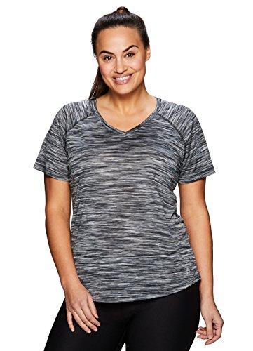 RBX Active Women's Plus Size Striated Short Sleeve Top Black 2X