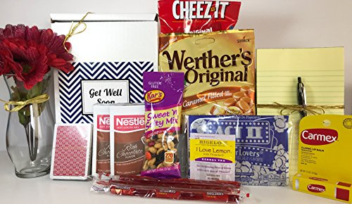Get Well Gift Box Basket - For Surgery / Injury / Cold / Flu / Illness - Over 2 Pounds of Care, Concern, and Love - Great Care Package - Send a Smile Today!
