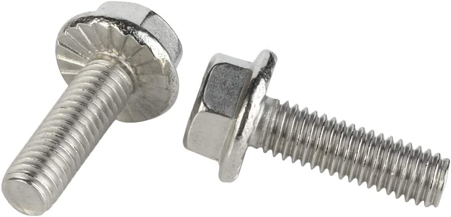 DIN 6921 25 PCS M8-1.25 x 12mm Flanged Hex Head Bolts Flange Hexagon Screws Stainless Steel A2