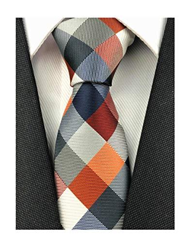Mens Navy Red White Plaid Pattern Ties Casual Necktie Best Birthday Gift for Son Friend Kids