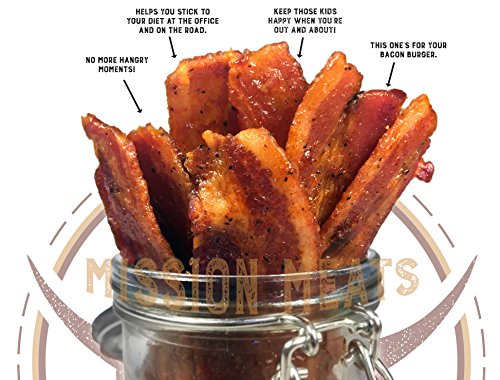 Delicious Uncured Real Bacon Jerky Hand Crafted Small Batch Kickin' Sriracha MSG Free Nitrate & Nitrite Free (Kickin' Sriracha, 3 pack)