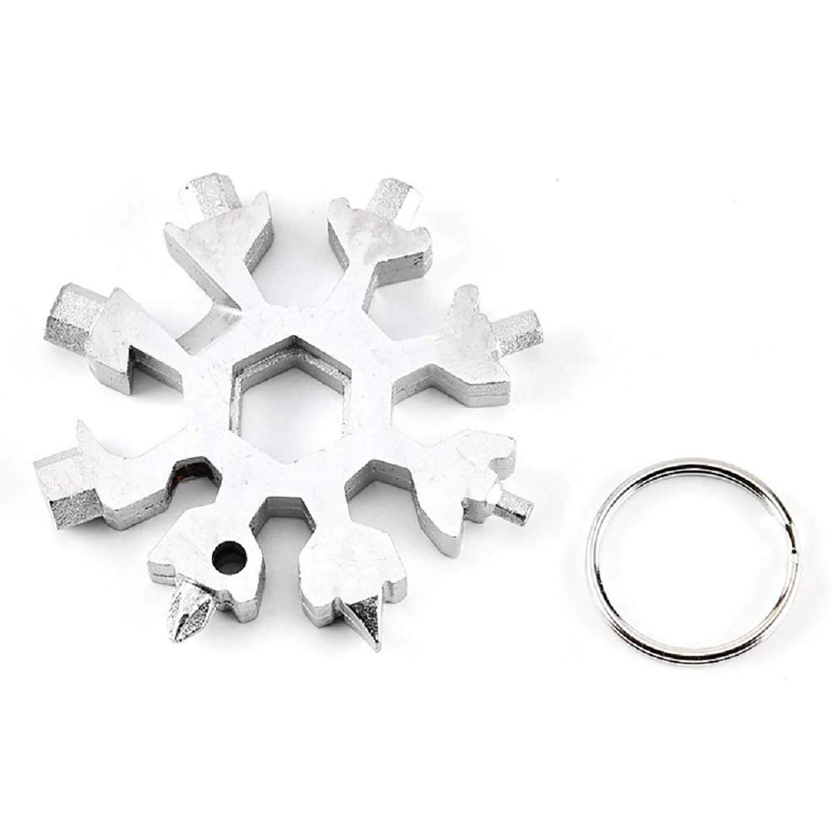 Stainless Snowflake Multi-Tool, Mallalah 18-in-1 Stainless Steel Multifunction Useful Wrench Outdoor Travel Camping Portable Keychain Screwdriver Bottle Opener Incredible Tool