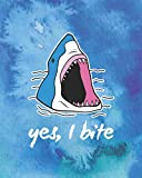 img - for yes, I bite: Shark in the Watercolor Ocean 150 Dotted Page 8 x10  Blank Notebook (Large) Great Gift Idea book / textbook / text book