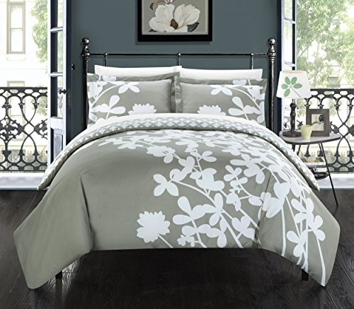 Chic Home 3 Piece Calla Lily Reverse Duvet Cover Set, King, Grey