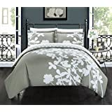 Chic Home 3 Piece Calla Lily Reversible Large Scale Floral Design Printed with Diamond Pattern Reverse Duvet Cover Set, King, Grey