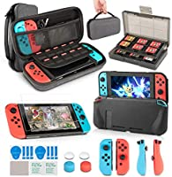 innoAura 11 in 1 Zubehör Set die Nintendo Switch , Tragetasche, Game Card Slot Halter, TPU Cover, Joy-Con Covers, Thumb...