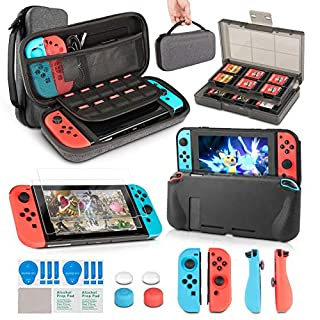 Switch Accessories Bundle, innoAura 11 in 1 Accessories Kit with Carrying Case, Game Card Slot Holder, TPU Cover, Joy Con Covers, Thumb Caps, Tempered Glass Screen Protectors for Nintendo Switch