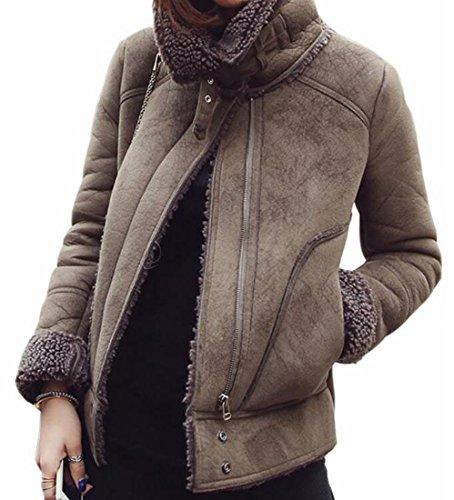 today Suede Dark Grey Womens Zip Long Jacket Thicken Front Winter Sleeve Outwear UK HqSrwRH