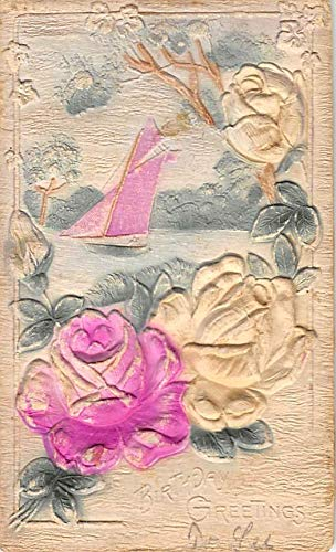 Christmas Post Card Old Vintage Antique Xmas Postcard Birthday Greeting, Embossed 1912