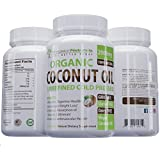 Organic Coconut Oil Capsules/Pills 2000mg Virgin Cold Pressed Non GMO for Weight Loss, Extra Hair Growth and Healthy Skin. Unrefined Pure Coconut Oil Best Source of MCFA. 120 count/bottle