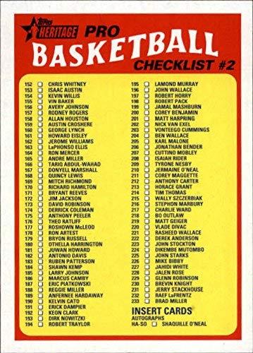 2000 Topps Checklist - 2000-01 Topps Heritage #145 Checklist NBA Basketball Trading Card