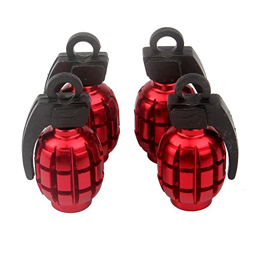(Senzeal 4X Aluminum Grenade Bomb Style Universal Car Truck Motorcycle Wheel Tyre Valve Caps Bicycle Tire Air Valve Cover Red)