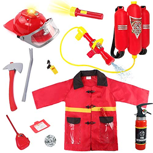 Liberty Imports Kids 10 Piece Fireman Gear Firefighter Costume Role Play Dress Up Toy Set with Helmet and Accessories (Deluxe) -