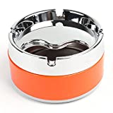 Silver Tone Orange Ashtray - Modern Tabletop with Lid, Cigarette Portable Ashtray for Indoor or Outdoor Use, Ash Holder for Smokers, Desktop Smoking Ash Tray for Home office Decoration, Silver