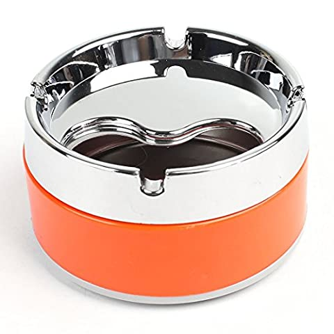 Silver Tone Orange Ashtray - Modern Tabletop with Lid, Cigarette Portable Ashtray for Indoor or Outdoor Use, Ash Holder for Smokers, Desktop Smoking Ash Tray for Home office Decoration, (6 Stainless Steel Trash Ring)