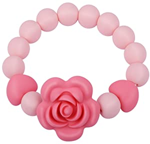 "Teething Beads Bracelet Ring for Baby Girl Boy, Handmade Silicone Teether Toy for Toddlers,2.5"" Diameter,Infant Pink Sensory Chew Toys,BPA Free"