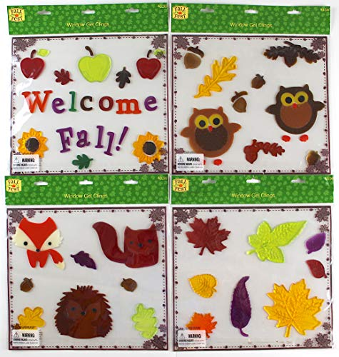 Assorted Variety Fall Gel Clings: Woodland Creatures Owls Fox Hedgehog Squirrel Leaves Decorations for Home Office Windows Mirrors and More